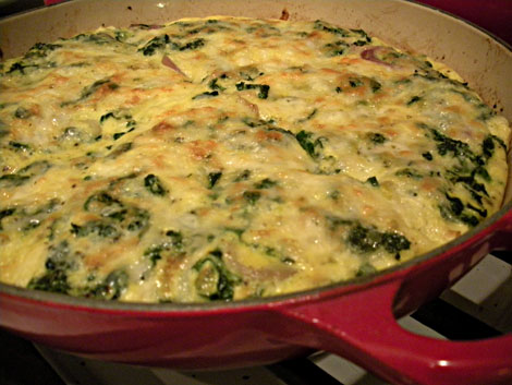 Tuscan Kale, Red Onion and Monterey Jack Frittata