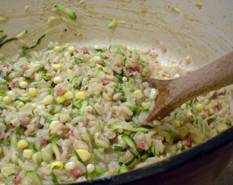 Lemon Basil Risotto with Zucchini and fresh corn